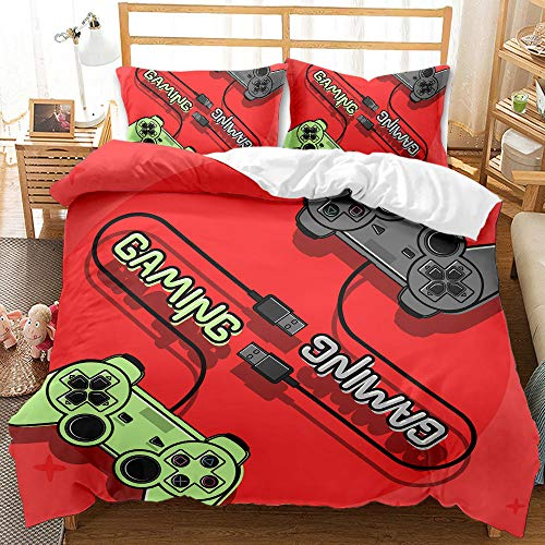Cttfbys mtsubllk Children's bedding set, game console and gamepad themed duvet cover and pillowcase, single double king size-A_175*218cm(3pcs)