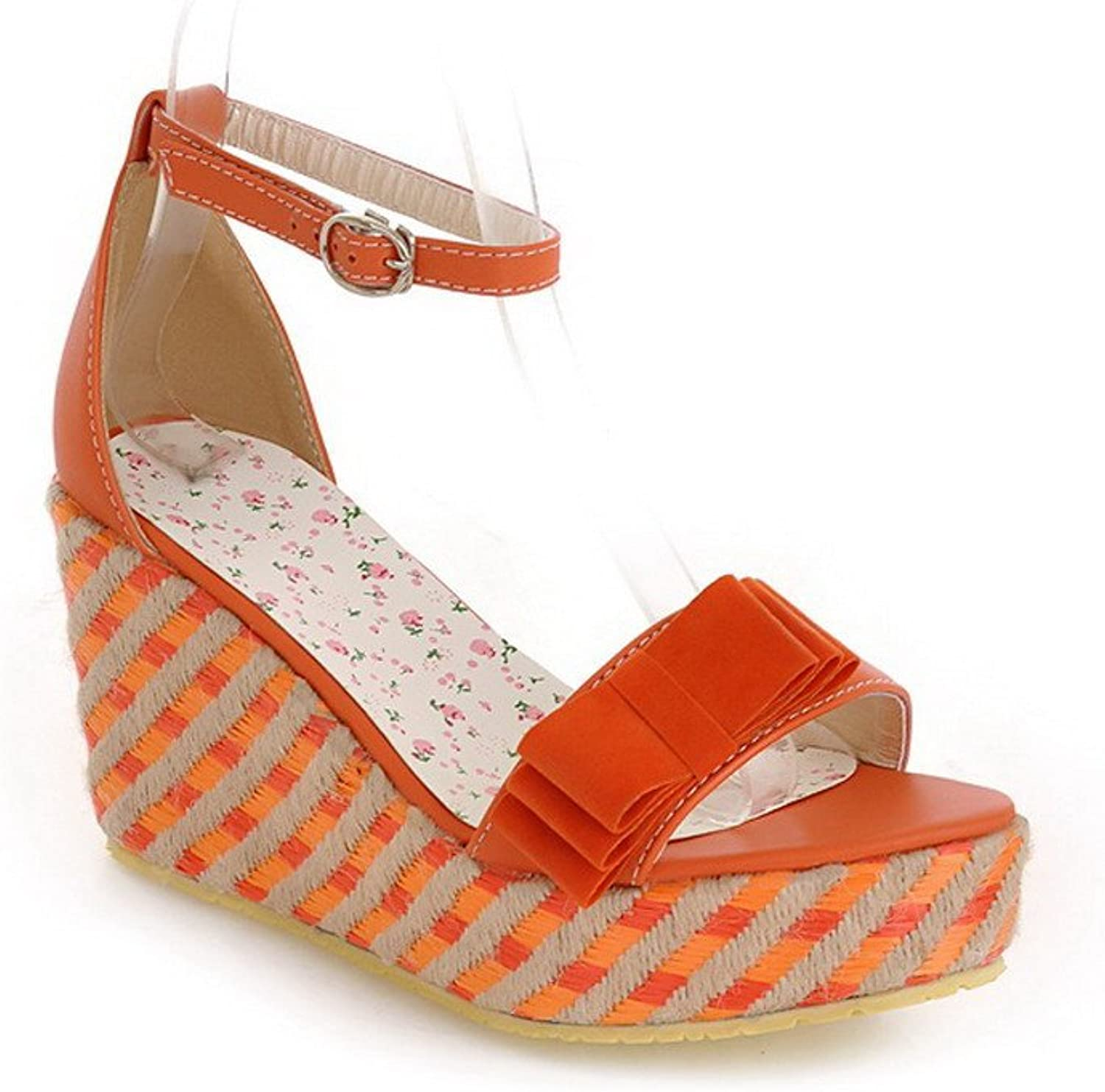 AmoonyFashion Womens Open Toe High Heel Wedge Platform Soft Material PU Solid Sandals with Bowknot, orange, 5.5 B(M) US