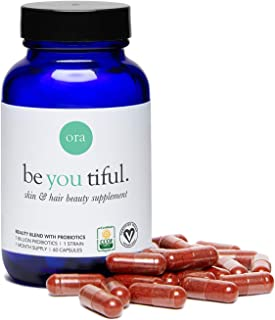 Ora Organic Hair, Skin, and Nails Biotin Supplement - Vegan B Vitamins: Biotin for Hair Growth & Niacin for Skin Health - Astaxanthin & Fucoidan Antioxidant Beauty Supplement - 30-Day Supply