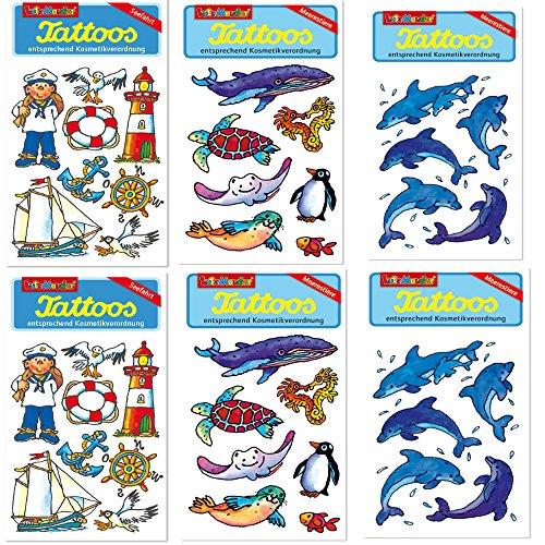 6-teiliges Tattoo-Set * MEERESTIERE * vom Mauder-Verlag | Kinder Kindertattoo Kindergeburtstag Geburtstag Mitgebsel Geschenk Tiere Delphin Schildgröte Eisbär Pinguin