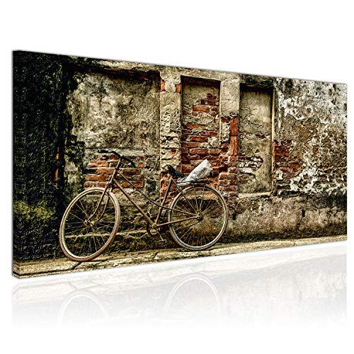 Topquadro Cuadro XXL sobre Lienzo, Imagen Panorámica 100x50cm, Bicicleta, Retro y Vintage, Rústica - Decoración de Pared, Imagen Panorámica - Una Pieza