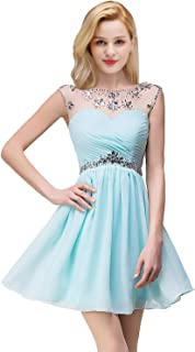 Women's Crystal Backless Cap Sleeves Chiffon Short Prom Cocktail Dress