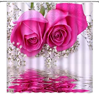 Maxwelly 3D Pink Rose Shower Curtain Polyester Floral Shower Curtain Set with Hooks for Bathroom Decor - Water Resistant- 72-Inch by 72-Inch