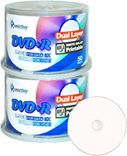 Smart Buy 100 Pack DVD+r Dl 8.5gb 8X DVD Plus R Double Layer Printable White Inkjet Blank Data Recordable Media 100 Discs ...
