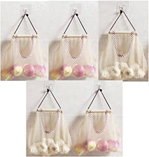 TuuTyss Set of 5 Hanging Reusable Storage Mesh Bag Vegetable Bag for Fruit,Garlics,Potatoes,Onions or Garbage Bag Organizer (5pcs-Beige)