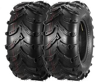 One Pair of MaxAuto ATV/UTV Rear Mud Tires 25x10-12 25x10x12 6PR Tubeless 50J