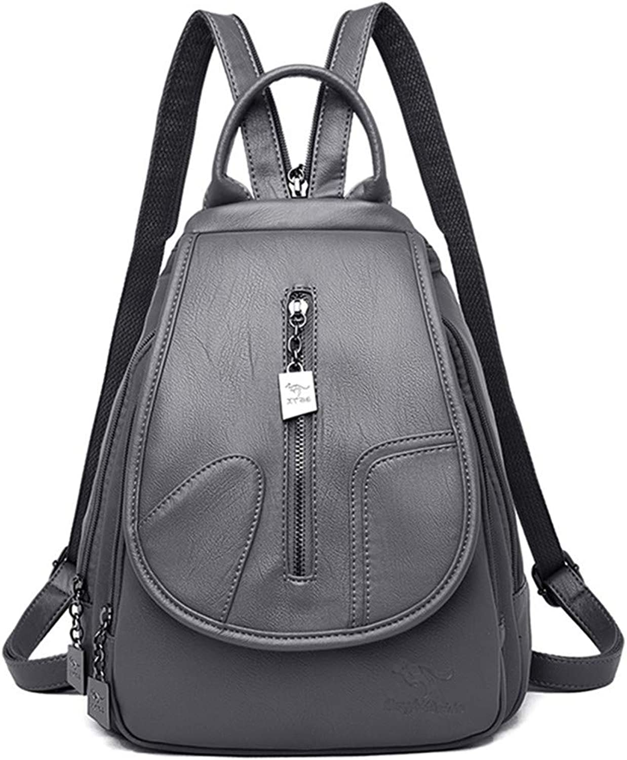 d19a7c1357cf Women Leather for Female Backpack College Travel Bagpack Pack Grey ...