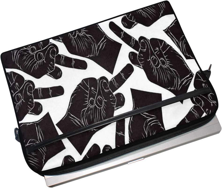 Laptop Sleeve Case,Middle Finger Hand Seamless Pattern 14-14.5 inch Briefcase Messenger Notebook Computer Bag
