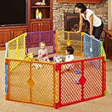 Toddleroo by North States Superyard Colorplay 8-Panel Play Yard: Safe play area anywhere - Folds up with carrying strap for easy travel. Freestanding. 34.4 sq. ft. enclosure (26' Tall, Multicolor)