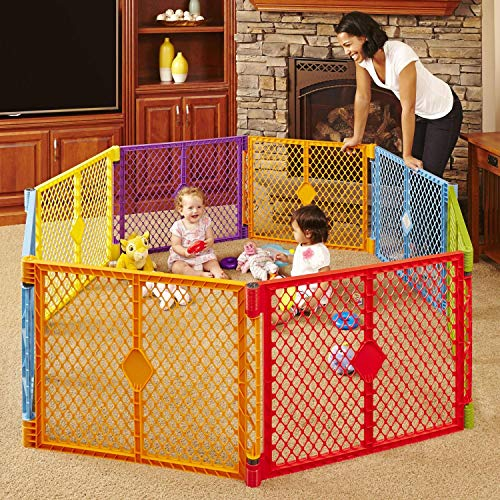 "Toddleroo by North States Superyard Colorplay 8 Panel Baby Play Yard: Safe play area anywhere. Folds up with carrying strap for easy travel. Freestanding. 34.4 sq. ft. enclosure (26"" Tall, Multicolor)"