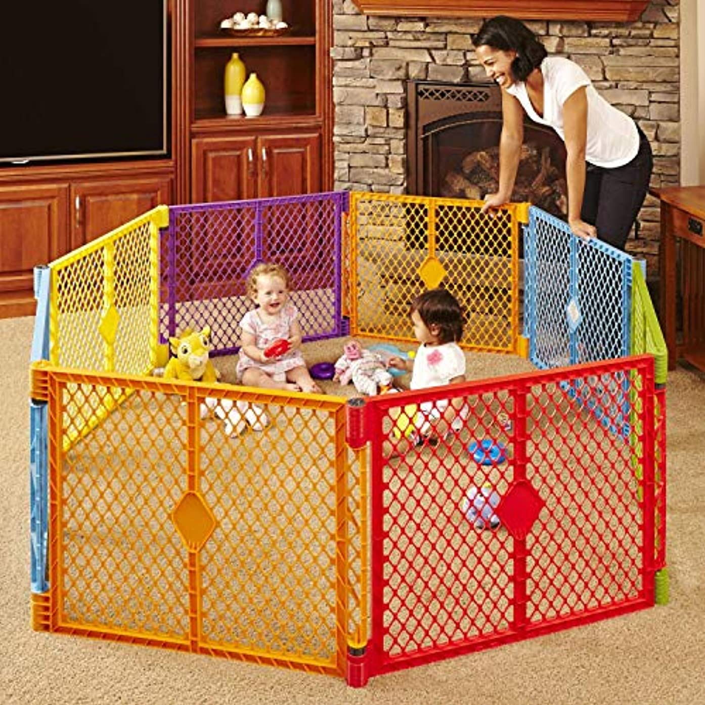 North States Superyard Colorplay 8-Panel Play Yard: Safe Play Area Anywhere - Folds with Carrying Strap for Easy Travel. Freestanding. 34.4 sq. ft. Enclosure (26