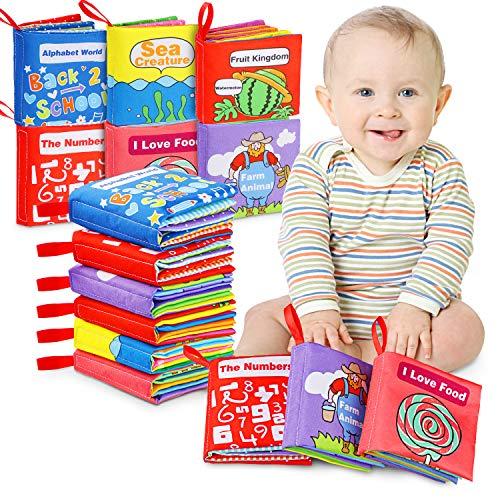 Libros Blandos para Bebé, Libro de Tela Bebé Aprendizaje y Educativo Libro para Bebé Recién Nacido Niños 6 Piezas
