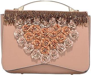 Tussy Ladies fashion portable retro beaded shoulder bag with love flower shoulder bag (Color : Khaki, Size : 26 * 9 * 18cm)