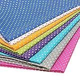 RPHB 8 piezas de tela de algodón patchwork DIY tela de patchwork de lunares, para costura, álbumes de recortes, costura, acolchado, manualidades, 50 x 50 cm 25 x 25 cm.