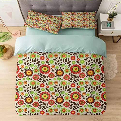 Aishare Store - Juego de funda de edredón de 3 piezas, diseño infantil de jardín de verano con flores de colores, funda de edredón con cierre de cremallera y 2 fundas de almohada