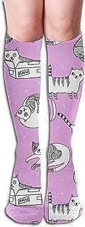 Cat Cute Cats Kitten Pets Design By Andrea Lauren - Calcetines hasta la rodilla morados Calcetines decorativos de moda para mujer Senderismo Ciclismo,50cm