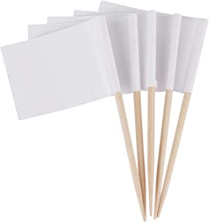 400 Counts Mini Blank Toothpick Flags White Cupcake Topper Flags Food Flag Marking Flags for Decoration Fruit Cocktail Sticks Party Supplies