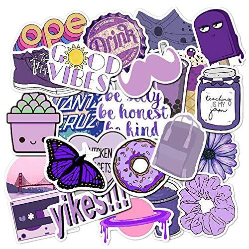 VSCO Purple Aesthetic Wasserflasche Aufkleber, 50 Packungen Vinyl wasserdichte Aufkleber für Teenager Laptop Skateboard Auto Motorrad Fahrrad PS4 Koffer Snowboard iPhone Dekorative Graffiti-Aufkleber.