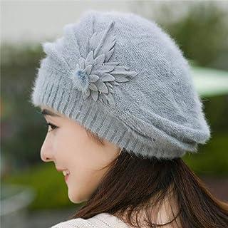 Lindo Sombrero De Ganchillo De Invierno para Mujer Gorro De Mujer Flor De Punto Confort Sombrero Cálido para Novia