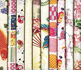 10 Asian Oriental Japanese Fat Quarter Quilt Fabric in Ivory #26 (2 1/2 Yards)