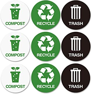 Recycle and Trash bin Logo Stickers - Recycle Sticker Trash Compost Can - Organize Trash - for Metal or Plastic Garbage cans, containers and Bins - Indoor & Outdoor - Home, Kitchen, or Office - 9 Pack