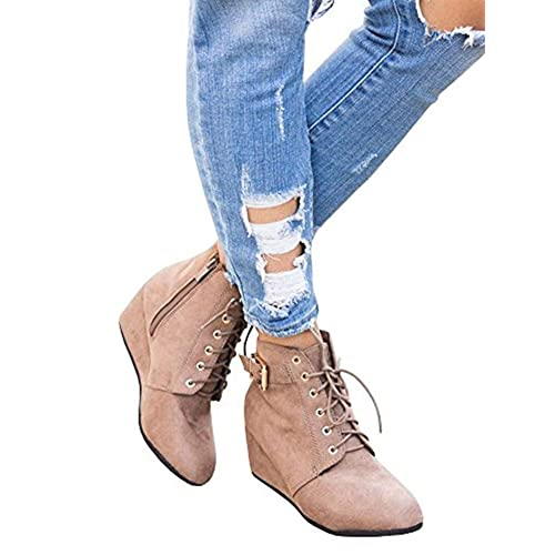 da06f42db4ce Huiyuzhi Womens Lace Up Ankle Buckle Straps Wedge Heel Booties Side Zipper  Ankle Boots Shoes