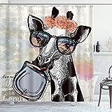 MIFSOIAVV Duschvorhang Mit Haken,Tiergiraffe mit Girlande Nettes animiertes Aquarell,Bad Vorhang Waschbar Bad Vorhang Polyester Stoff mit 12 Haken 180x180 cm