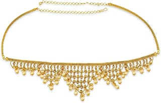 ACCESSHER Gold Copper Royal Kamarband with Drops for Women
