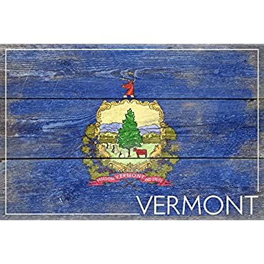 Rustic Vermont State Flag (16x24 SIGNED Print Master Giclee Print w/ Certificate of Authenticity - Wall Decor Travel Poster)