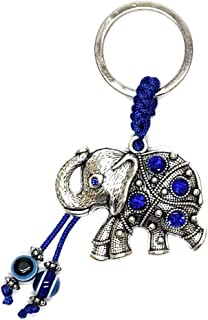 Lucky Elephant and Evil Eye Good Luck Keychain Ring, Handbag Charm with Rhinestone Crystals for Good Luck and Blessing, Great Gift