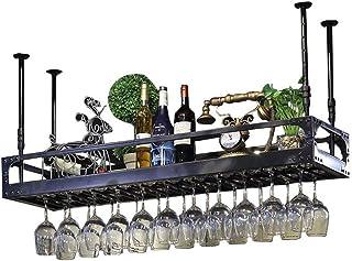 Organisation de rangement de cuisine Porte-bouteille de vin en fer métallique  Étagère de rangement noire au plafond susp...