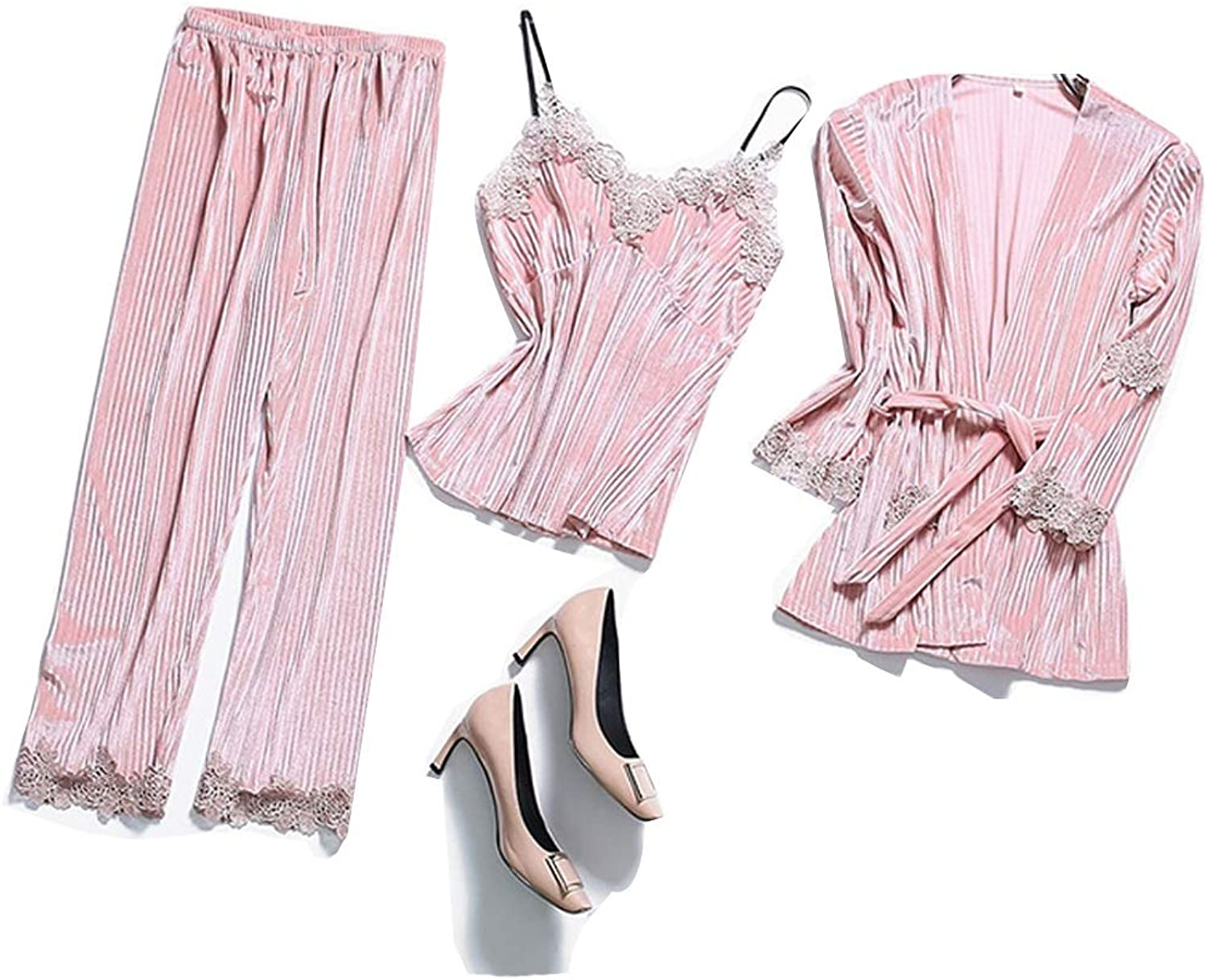 GJFeng Spring and Autumn Winter Women's gold Velvet Pajamas Lace Stretch Casual ThreePiece Set Elegant Atmosphere Home Wear Soft and Comfortable (color   Pink, Size   XL)