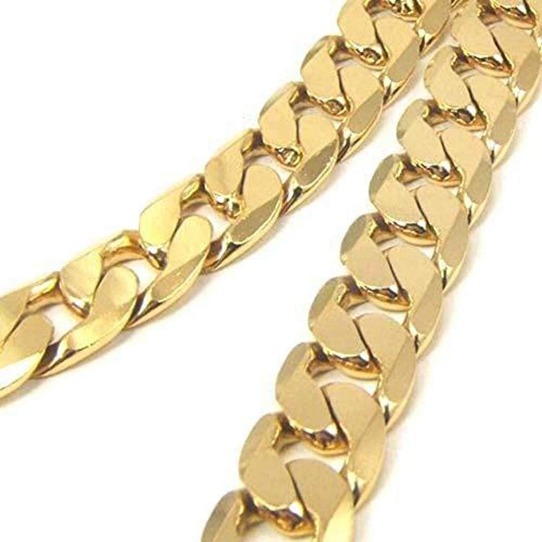 Desconocido 24K Chapado en Oro 8mm para Hombre Collar Miami Cubano Cadena de eslabones para Hombre Joyería 24