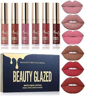 Long Lasting Sexy Matte Lip Gloss, Liquid Lipstick Waterproof Moisturizer Professional Lips Balm Makeup, 6PCS