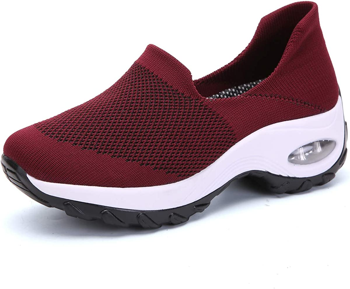 WNUKATO Walking Shoes for Women Slip on Loafers Platform Sneakers Gym Running Shoes