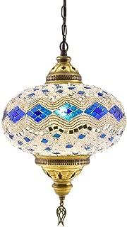 Turkish Moroccan Mosaic Glass Handmade Ceiling Pendant Fixture Hanging Lamp Light Chandelier (Ocean Breeze - 10