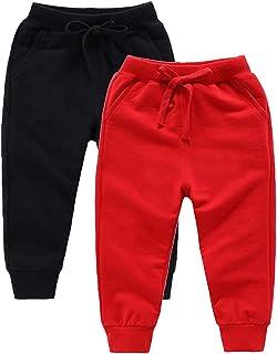 DQCUTE Pantalones Deportivos para Niños Niñas Pantalón Largos Elástico Cintura Pantalones de Chándal Joggers Algodón para ...