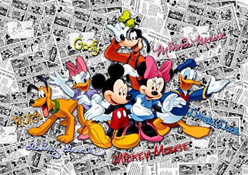 AG Design FTD 2225 Disney Mickey Mouse, papier fotobehang - 360x254 cm - 4 stuks, papier, multicolor, 0,1 x 360 x 254 cm