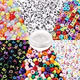 Quefe 1400pcs Beads Kit Letter Beads and Large Hole Beads in 6 Styles with 50 Meters Elastic String Assorted for DIY Bracelets, Necklaces, Key Chains and Other Jewelry Making