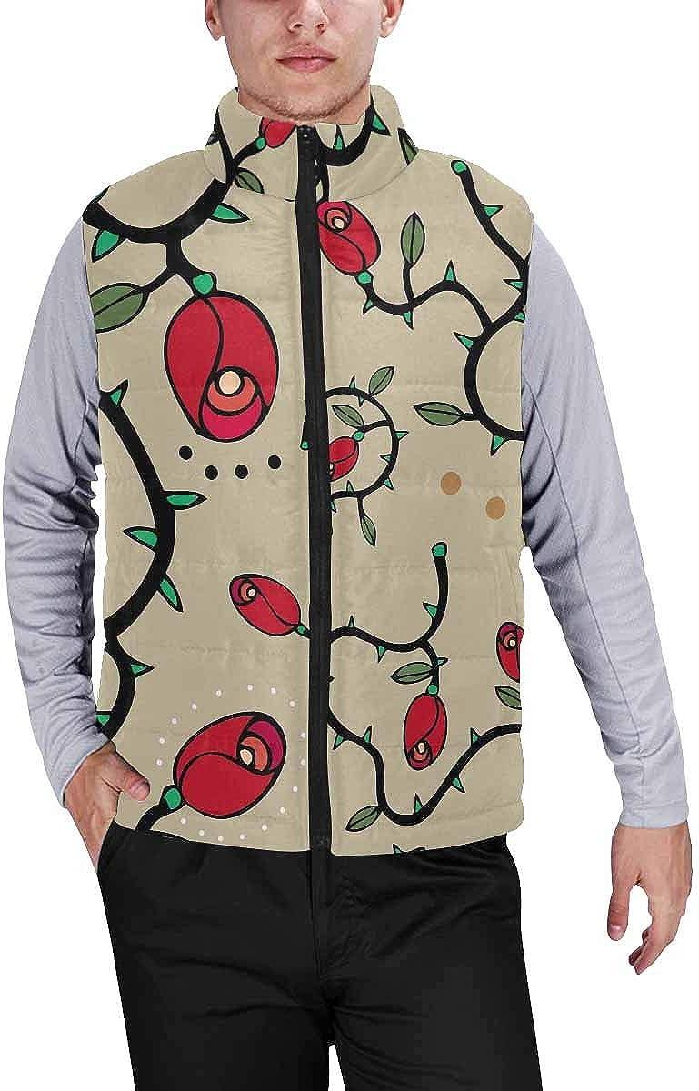 InterestPrint Men's Full-Zip Padded Vest Jacket for Outdoor Activities Halloween, Pumpkin, Ghost, Bat, Candy