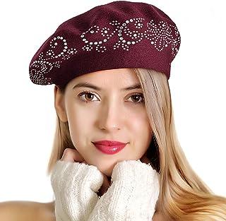 LADYBRO Rhinestone Beret Hats for Women 2 Layers Wool French Hat Lady Winter Black Red