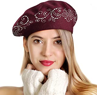LADYBRO Knit Berets for Women Rhinestones 2 Layers Wool Beret Hats Winter Hats Warm Soft