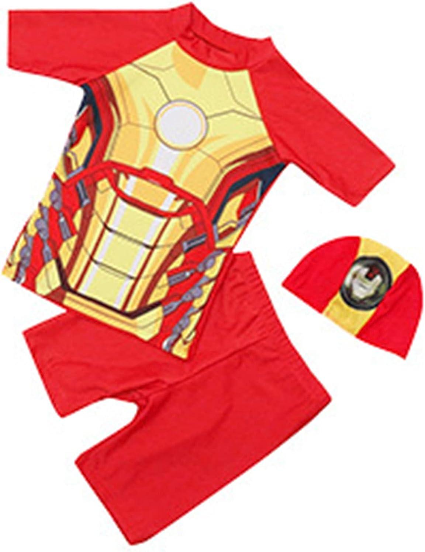 LQ-ZHUOJIAO Traje De Baño De Iron Man para Niños, Traje De Baño De Superhéroe, Trajes De Baño para Niños, Niñas, Traje De Surf, Ropa De Playa De Verano,Red- 2XL (115~125CM)