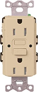 Lutron SCR-15-GFST-DS Claro Satin Colors 15-Amp Self-Testing Receptacle, Desert Stone