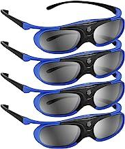 BOBLOV DLP Link 3D Glasses 4Pack, 144Hz Rechargeable 3D Active Shutter Glasses for All 3D..