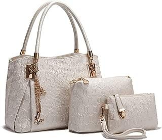 Purses and Handbags Sets for Women, Shoulder Bag Top-Handle Tote Purse Wallet Key Case Set, Crossboy Bag,Beige