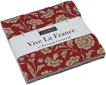"""Vive La France Charm Pack by French General; 42-5"""" Precut Fabric Quilt Squares"""