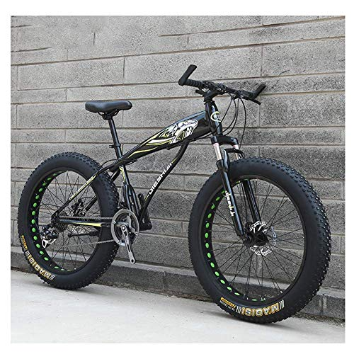 CWZY Adult Mountain Bikes, Boys Girls Fat Tire Mountain Trail Bike, Dual Disc Brake Hardtail Mountain Bike, High-carbon Steel Frame, Bicycle,Yellow E,24 Inch 27 Speed