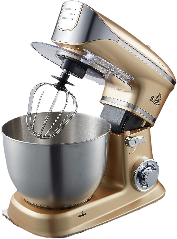 6,5 litros, robot de cocina, 1300 W, amasadora, multifunción, con gancho para amasar, batidora y batidor, bol de acero inoxidable (dorado)