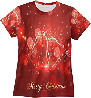 Christmas Bell T Shirts for Women Top Tee Crew Neck Casual T-Shirt